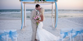 Bride and Groom at their Beach Wedding